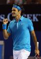 组图:费德勒五进澳网决赛 庆祝胜利显淡定