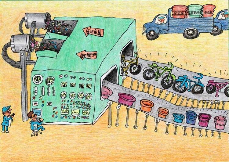 儿童环保绘画大赛获奖作品 奚瑞萱(马鞍山) 12岁 垃圾一定要分类装放图片