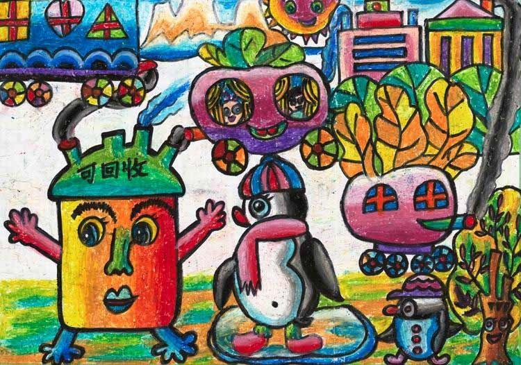 儿童垃圾分类的图画