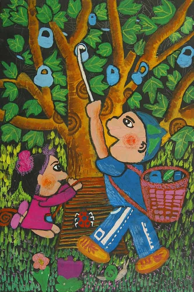 《护树》中国儿童环保教育计划暨中国儿童环保绘画大赛获奖作品 夏图片