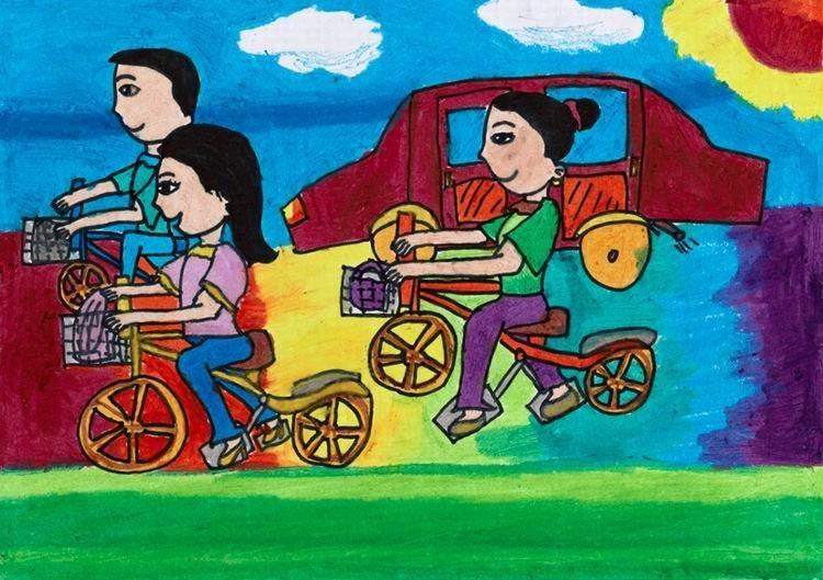 中国儿童低碳倡想:少开一天车图片