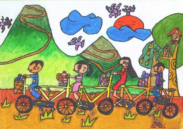 多人自行车上学了》中国儿童环保教育计划暨中国儿童环保绘画大赛获奖图片