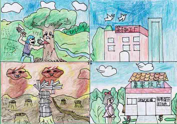 《哭泣的大树》中国儿童环保教育计划暨中国儿童环保绘画大赛获奖作品图片