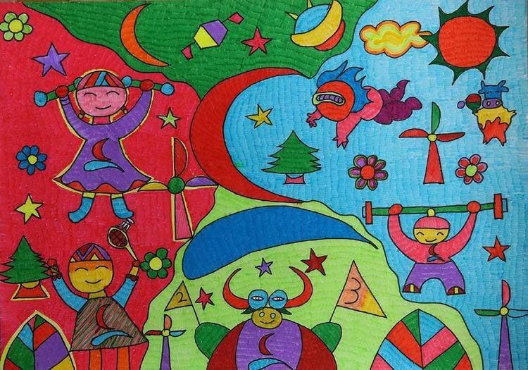 小学生过年手绘画
