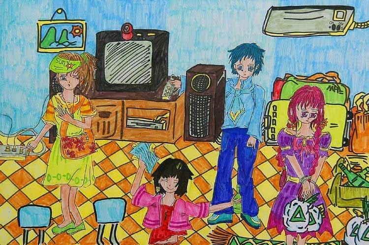 《购物也节能》中国儿童环保教育计划暨中国儿童环保绘画大赛获奖作品图片