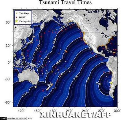 这是美国国家海洋和大气管理局2月27日发布的智利地震引发海啸波及时间图