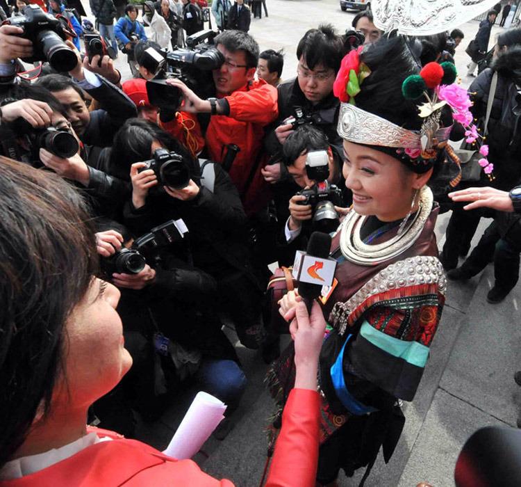 贵州苗族女代表雷阿幼朵是亮点之一。