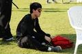 组图:刘翔训练变身黑衣人 称高温训练很舒服
