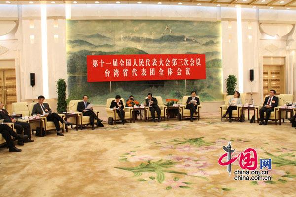 3月12日下午3时,台湾代表团在人民大会堂召开全体会议,图为会议现场。 (杨爱博摄)