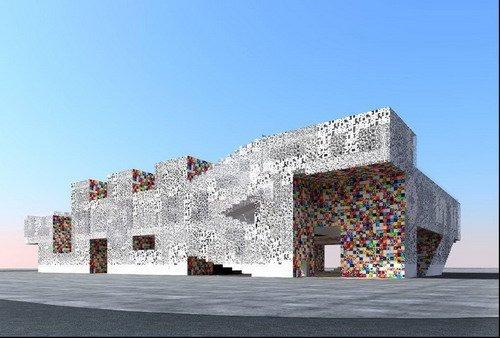 韩国馆亮点:韩文字母组合成展馆造型