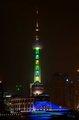 """组图:夜幕中的上海 东方明珠塔""""穿上""""世博色"""