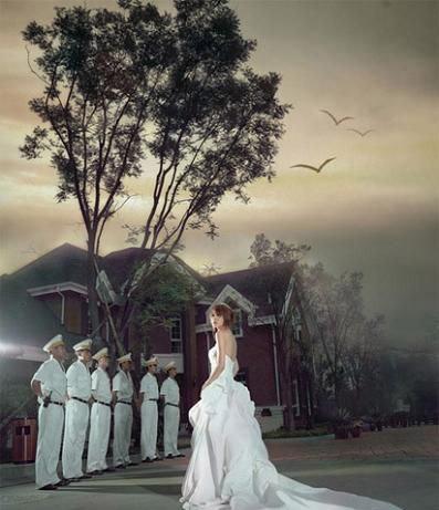 漫画式的绝美婚纱照