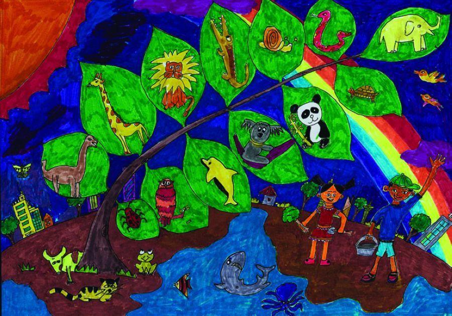 中国儿童环保绘画大赛优秀作品:保护生物多样性图片