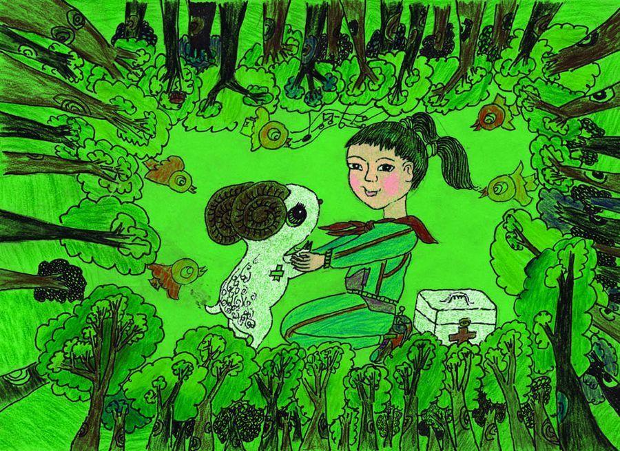 中国儿童环保绘画大赛优秀作品:保护生物多样