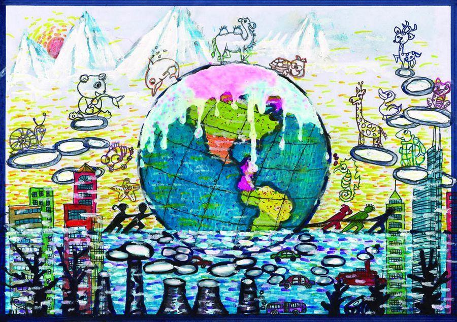 中国儿童环保绘画大赛优秀作品:《让我们大家一起来保护地球》北京 王图片