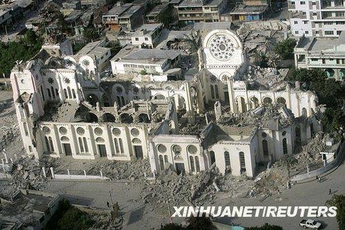 1月14日,海地首都太子港的大教堂在地震中遭到严重损毁。海地当地时间12日下午发生强烈地震和多起余震,造成首都太子港大量房屋受损或倒塌,当地人士称地震可能造成数万人死亡。新华社/路透