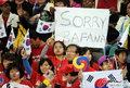 图文:韩国VS尼日利亚 球迷激情助威(16)