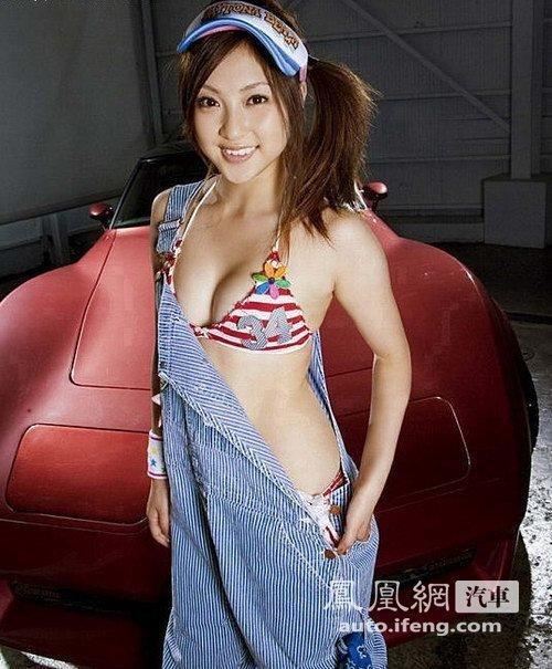 日本美少女洗车诱惑 香车美女