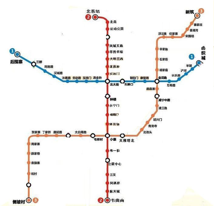 地铁一二三号线路
