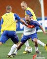 图文:世界杯决赛在即 荷兰队适应场地(5)