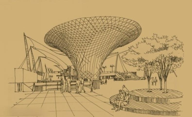 超牛的世博展馆手绘图