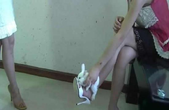 高跟鞋踩踏小动物