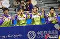 高清:乒球男团中韩对决 刘国梁率队呐喊助威