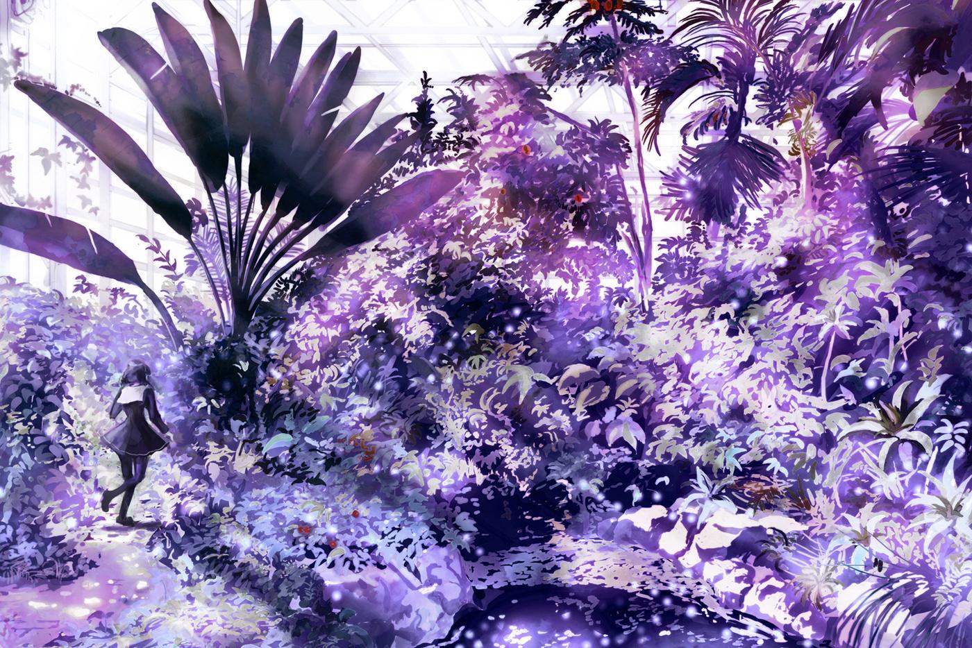 紫色彼岸花手绘