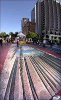 组图:前美国宇航局科学家创造逼真街头3D画