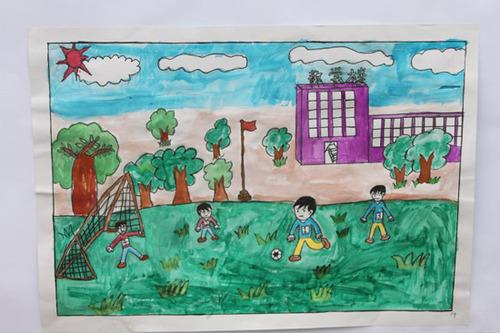 组图:南坝小学校园足球节 书画作品展足球梦图片