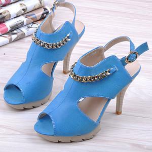 蓝色鱼嘴鞋露趾镂空细高跟女凉鞋-性感脚丫的流行风尚 一网打尽明星