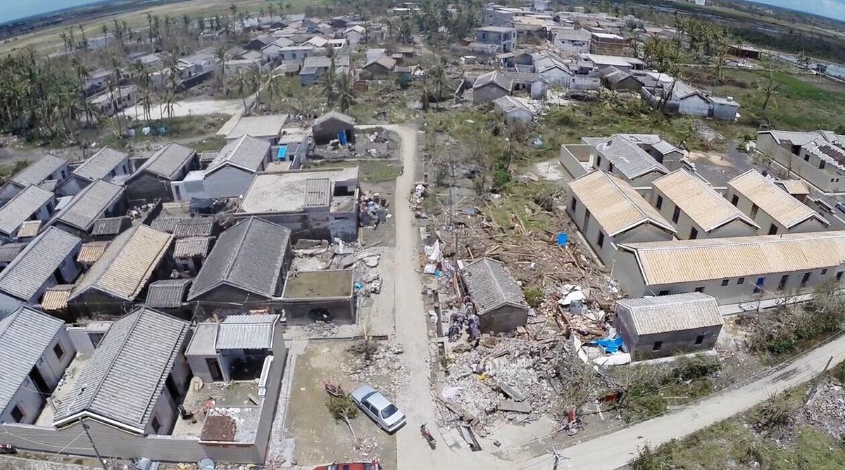 """7月20日,台风""""威马逊""""过后,海南文昌航拍图.今年第9号台风""""威"""
