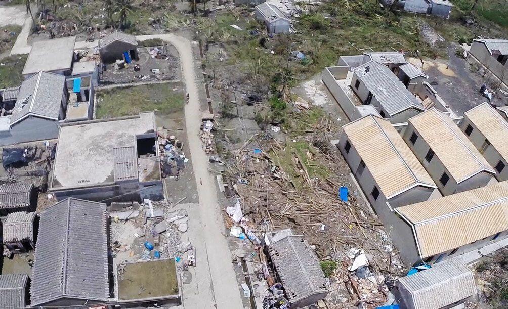 """7月20日,台风""""威马逊""""过后,海南文昌航拍图.(图/腾讯拍客 Tom"""