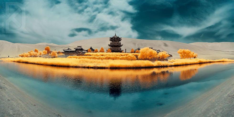 红外摄影:逆色风光 - 海阔山遥 - .