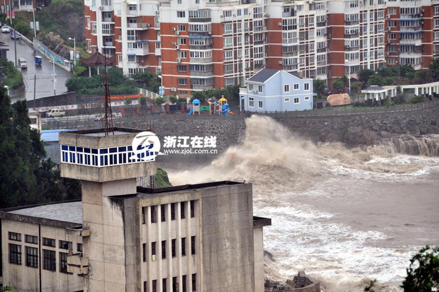"""台风""""凤凰""""来袭 浙江玉环沿海掀起巨浪2014.9.23 - fpdlgswmx - fpdlgswmx的博客"""