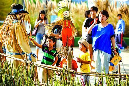 """""""天空农庄""""稻田里的稻草人让小朋友觉得很新奇.图片"""