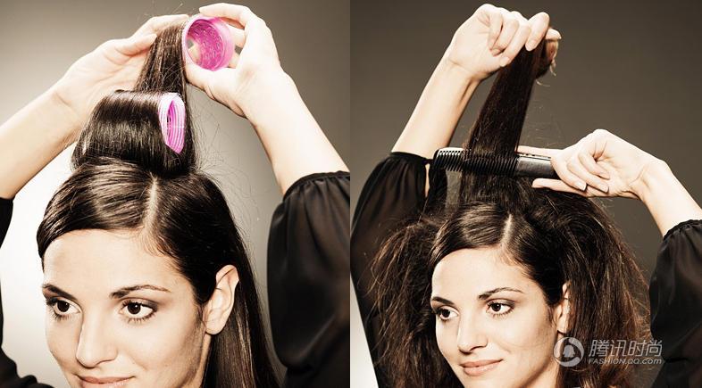 step3:再拿出卷发器将脑后的头发烫出卷度.图片