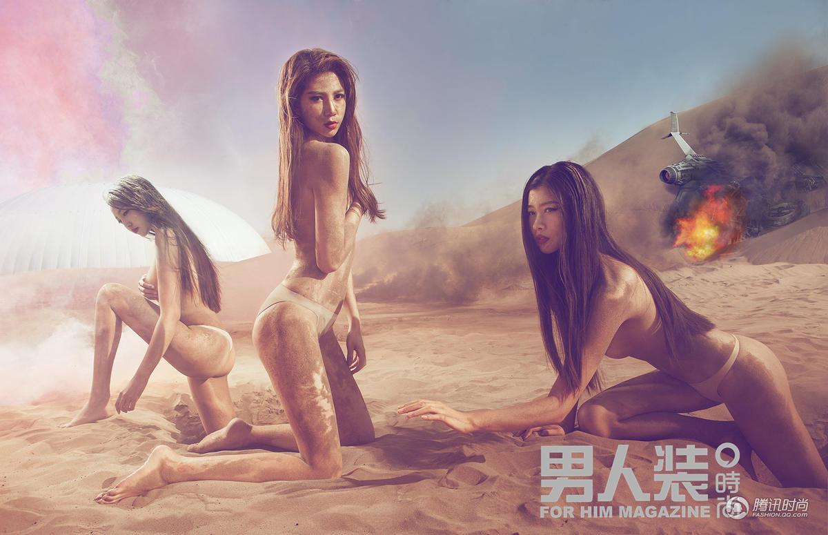 男人装众美女沙洲探险 大尺度半裸骑骆驼滚沙子