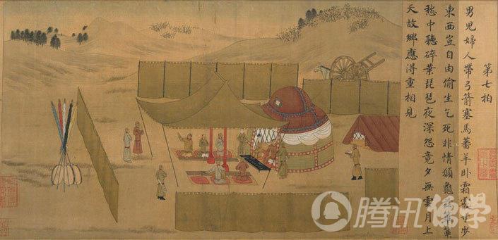 东汉末年,中原战乱,被董卓的部将所虏,在南匈奴居住了12年.在万