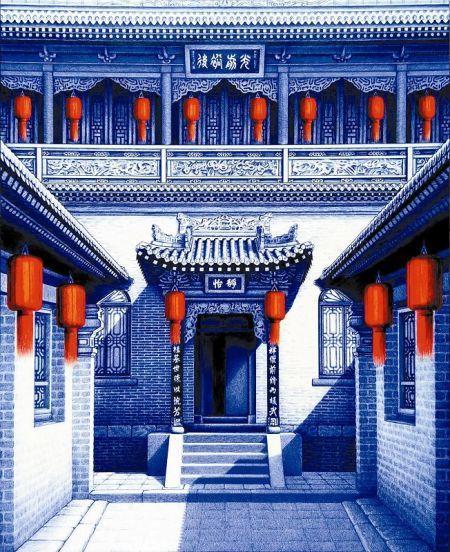 组图:90后农村小伙用圆珠笔画中国古风建筑 - 暮色苍茫 - 赵破奴