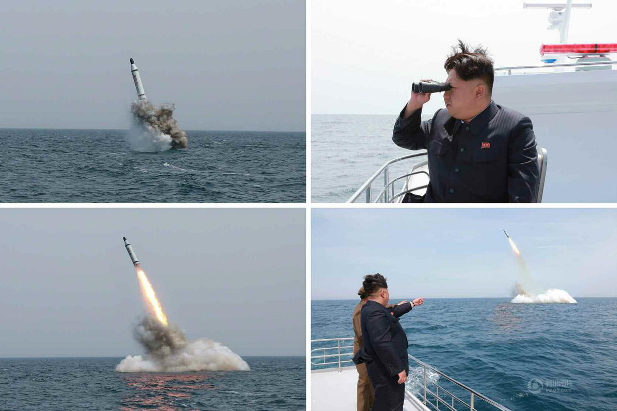 朝鲜试射国产潜射弹道导弹 金正恩出海抵近参观