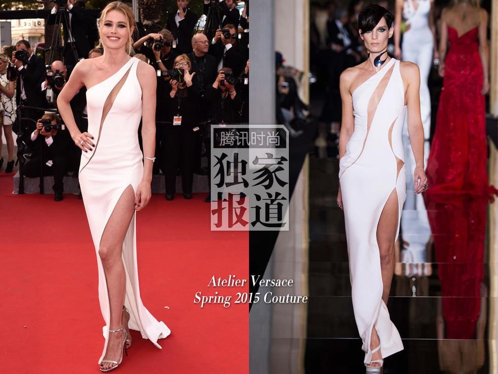 张馨予范爷同穿花袄-超模杜晨-科洛斯(Doutzen Kroes)身穿 Atelier Versace 2015高定系...