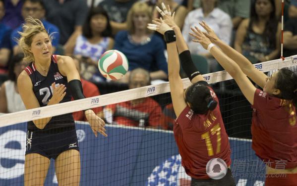 中美女排对抗赛第一场 中国0 3负美国