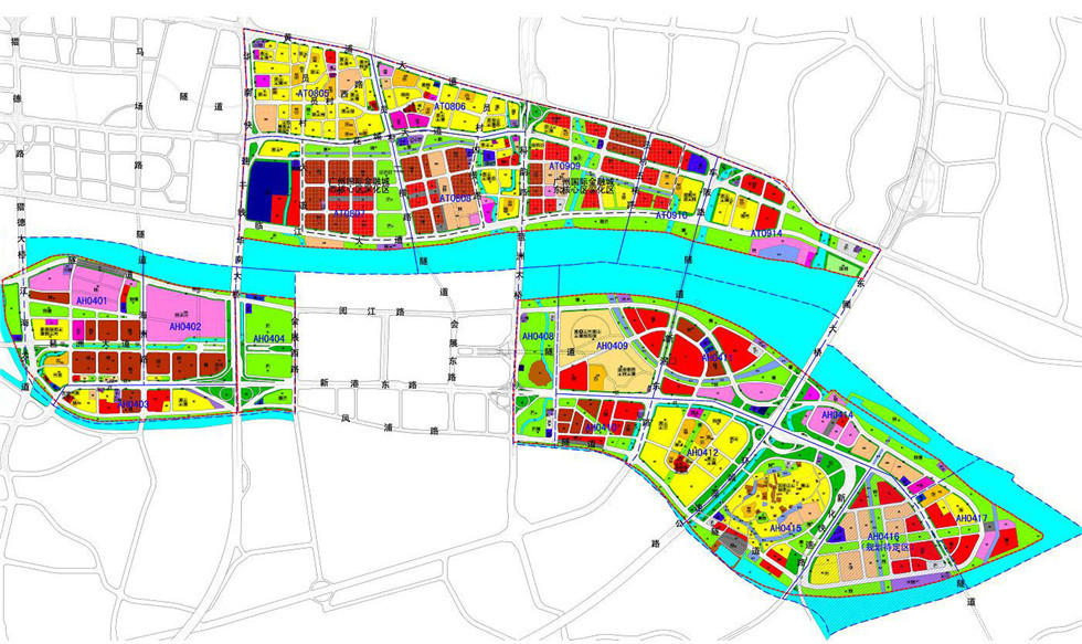 2000年琶洲首轮规划,将琶洲岛划分为面积约2.5平方公里的A、B 1、