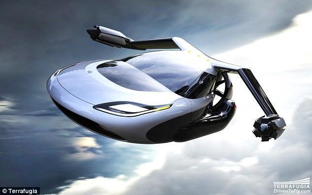 未来版飞行汽车 机翼可折叠 停靠普通车库高清图片
