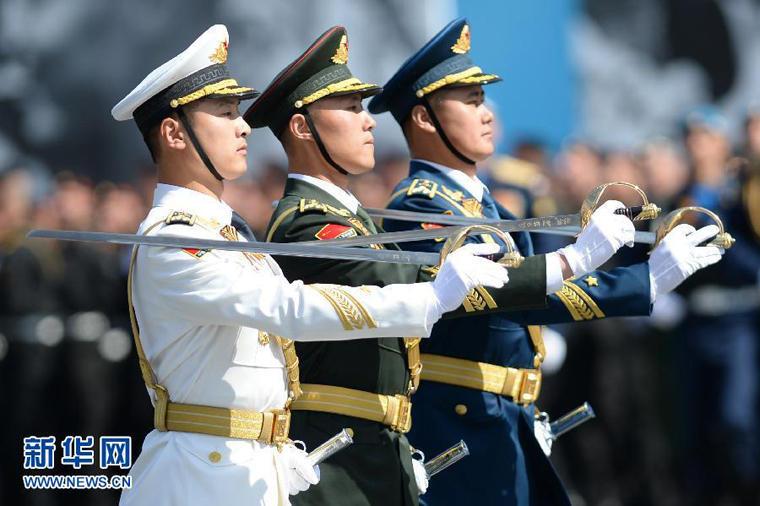 中国人民解放军三军仪仗队方阵参加俄罗斯纪念卫国战争胜利70周年