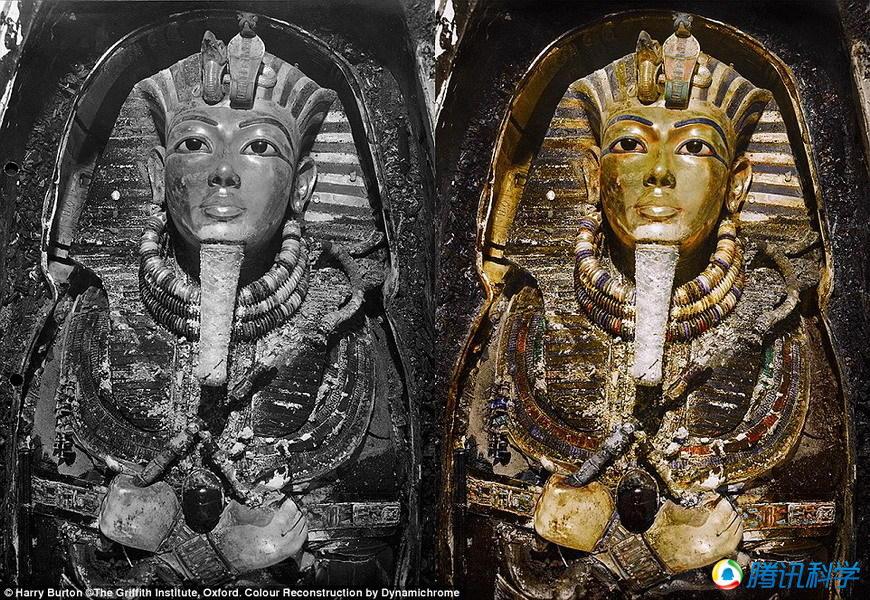 彩色照片再现图坦卡蒙法老墓室探索之旅(高清图)