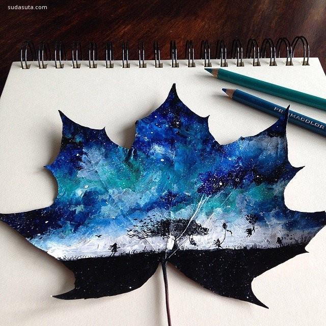 你见过在叶子上作画吗