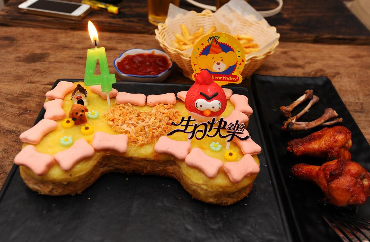 """莉""""精心准备的生日蛋糕和蜡烛.-南宁女子到专门宠物餐厅为爱犬过"""