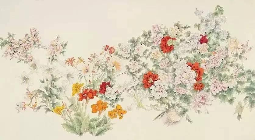 绝无雷同之处,各种花卉之间布局疏朗,赋色鲜艳,仿佛刚从树枝图片